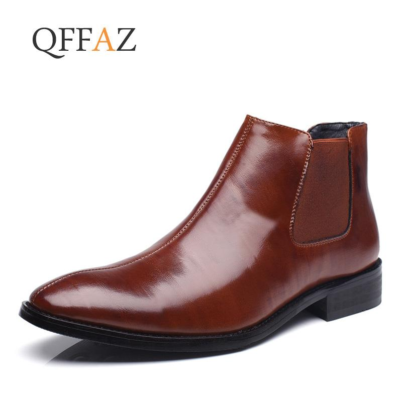 QFFAZ NEW Men Boots Fashion Ankle Boots Leather Comfortable Casual Shoes Men Waterproof Man