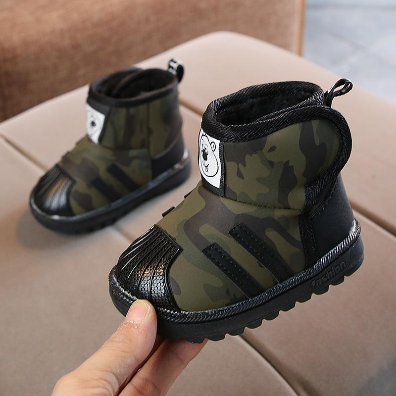 Baby Boy Winter Snow Boots Camouflage Cotton Hook & Loop PU Ankle Warm Shoes Size 21 25 Soft Sole Thick Shoes TX002