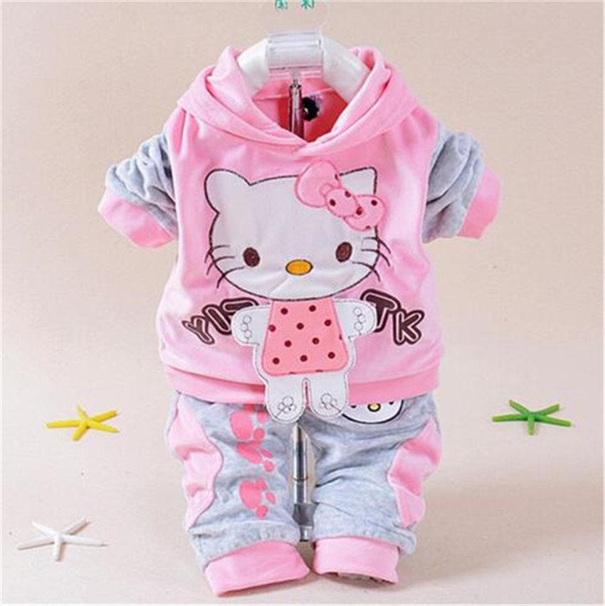 5d7c9250a Baby Girls Clothing Sets Cartoon Pattern Kitty Newborn Boy Brand ...