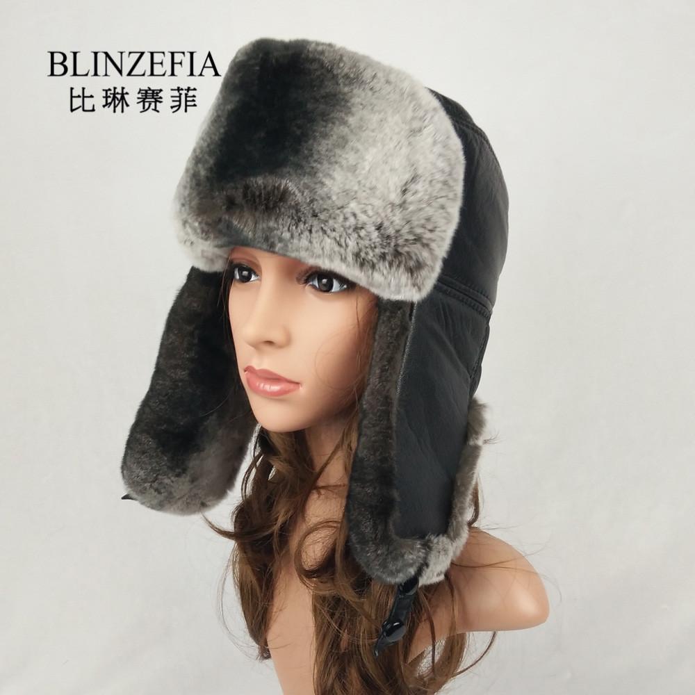 2019 BLINZEFIA Real Rex Rabbit Winter Aviation Fur Hats Warm Women Sheep  Leather Russian Ears Cover Bomber Hat Ushanka BZ6017 UK 2019 From Value222 5be3d2cb1b1