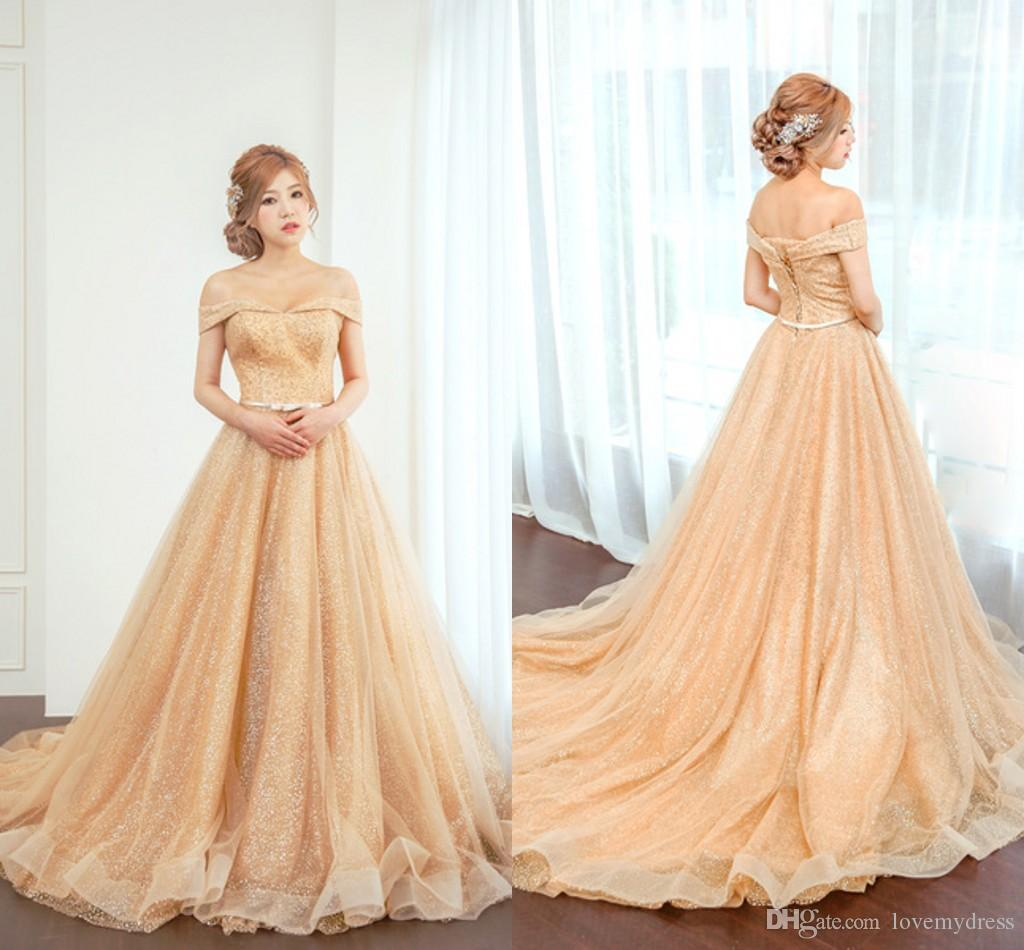 0ec9f82665 2019 Gold Sequined Dresses Off Shoulder Prom Dress Bow Sashes Draped Lace  Up Graduation Dress Evening Gowns Party Dress Plus Size Ball Gowns Plus  Size Prom ...