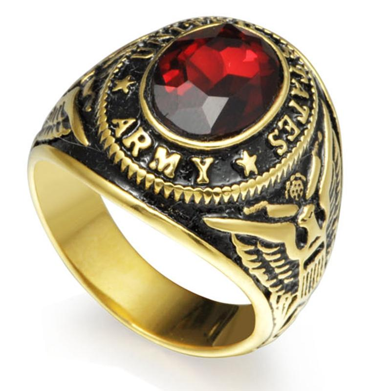 steel connect Size 7-15 Gold Tone Plated Stainless Steel Red Ston United States Military Army Ring Signet Navy Airforce Marine Veteran