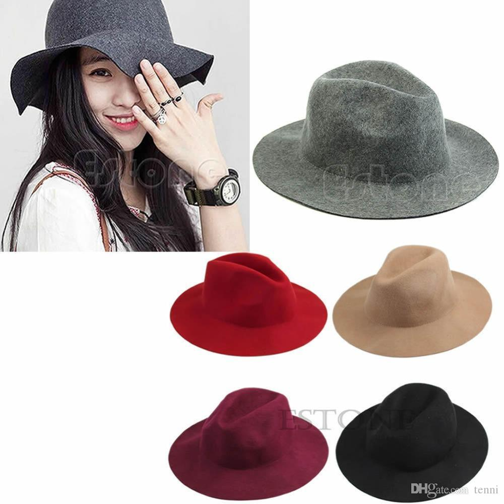 6847dbf87ef 2018 Fashion Women Vintage Wide Brim Wool Felt Hat Classical Flop ...
