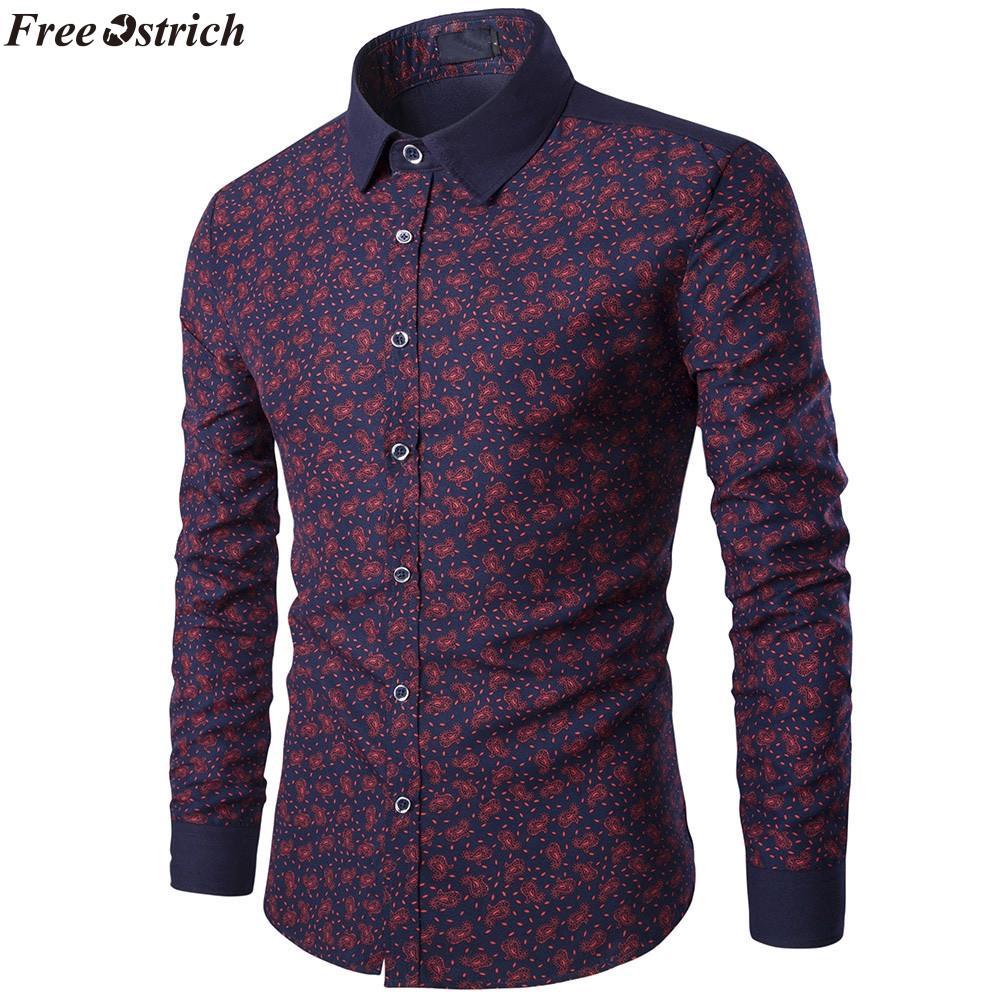 826922f64 OSTRICH LIBRE Hombres Moda Casual Camisa Manga Larga Estampada Slim Fit  Hombre de Negocios Social Camisa de Vestir Marca de Ropa de Los Hombres  Suave