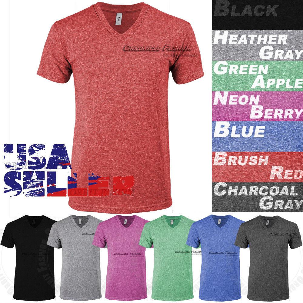 b24968043b0 Tri Blend V Neck T Shirt Short Sleeve Slim Fit Casual Plain Tee Shirts Top  Mens Cheap Wholesale Tees