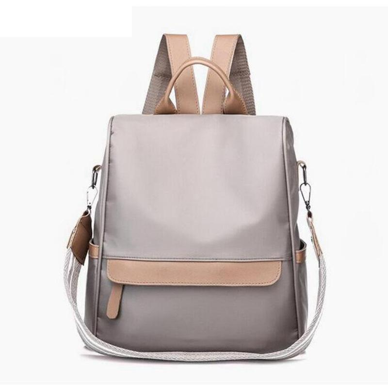Female School Bags Waterproof Nylon Backpack Women Wide Strap Shoulder Bag Leather Backpacks For Teenage Girls 2019 New Lw-106