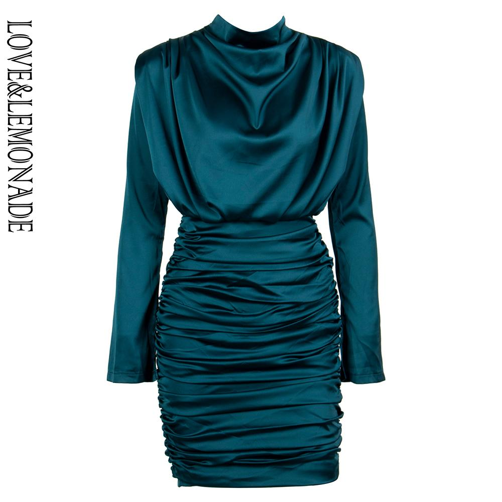 5228837d400a Love Lemonade High Collar Loose Upper Body Pleated Decoration Elastic Rayon  Bodycon Going Out Party Dress LM81722 GREEN Women In Dresses White Dress  For ...