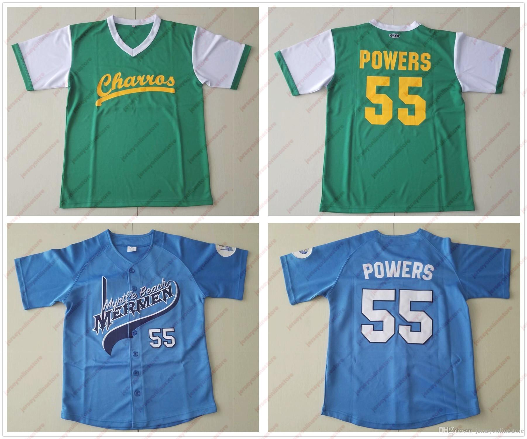 2019 Mens Mexican Charros Movie  55 Kenny Powers Jersey Blue Green Powers  Myrtle Beach Mermen Baseball Jerseys From Jerseyonlinestore 3a3b074a1c49