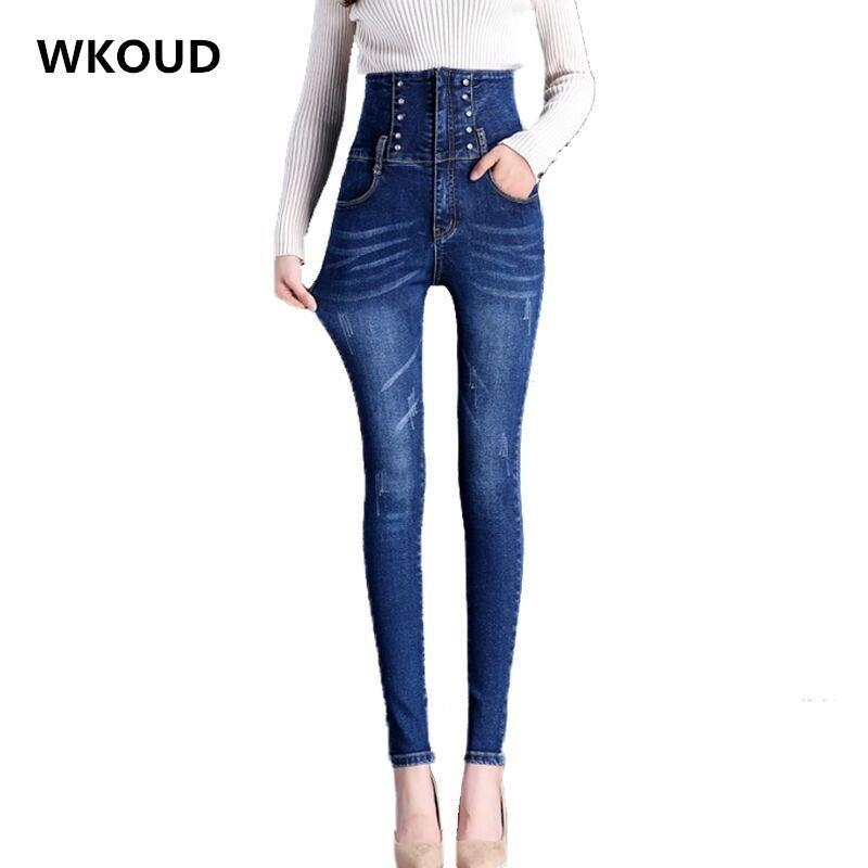 07931a2dbd0 WKOUD High Waist Jeans Female Plus Size Korean Skinny Washed Jeans Women  Denim Pencil Pants Stretch Black Trousers P8752 Jeans Cheap Jeans WKOUD  High Waist ...