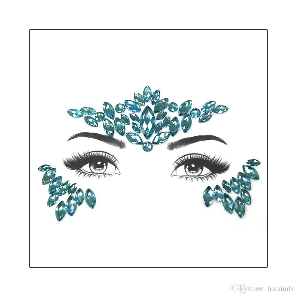 DIY New Green Adhesive 3D Face Diamond Jewels Gems Temporary Tattoo Sticker Body Glitter Crystal Rhinestone Ornament Cosplay Party Accessory