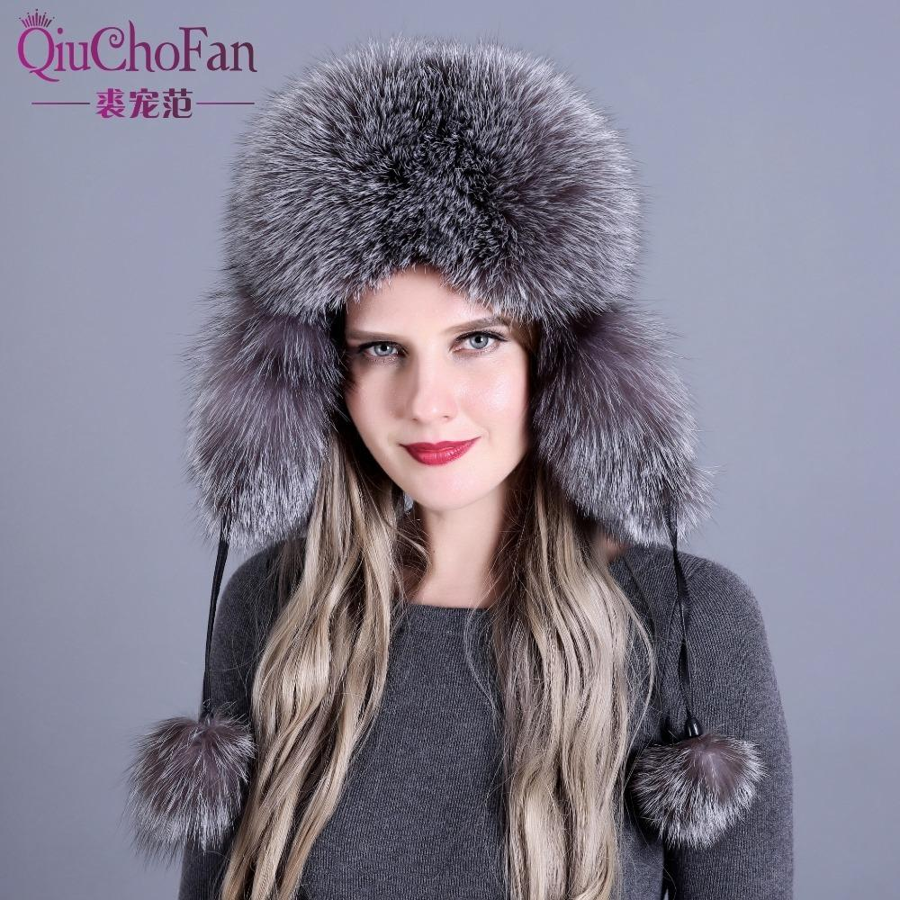 8583fcae Russian Leather Bomber Leather Hat Women Winter Hats With Earmuffs Trapper  Earflap Cap Women Real Raccoon Fur Black Fox D19011503 Cute Beanies Red  Beanie ...
