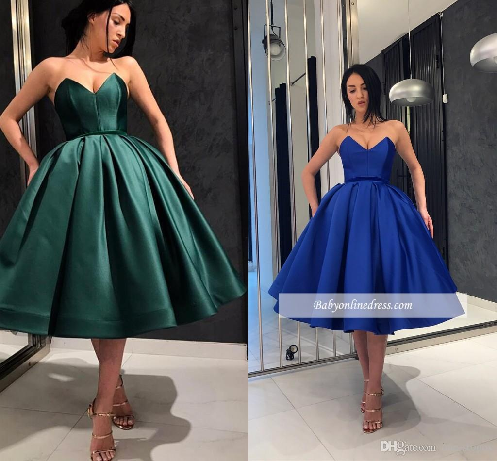 69419a68b9a 2019 New Short Prom Dresses Satin Sweetheart Homecoming Cocktail Formal  Party Ball Gown Plus Size Pageant Dresses Custom Made Size 18 Cocktail  Dresses Tea ...