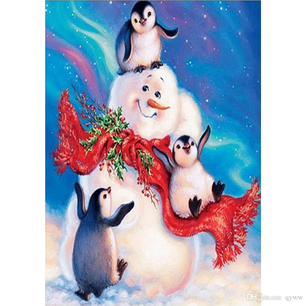 Wall Decoration Painting Snowman and Penguin in the Snow Handmade Diamond Painting for Christmas Gift.Resin material, tough and light.