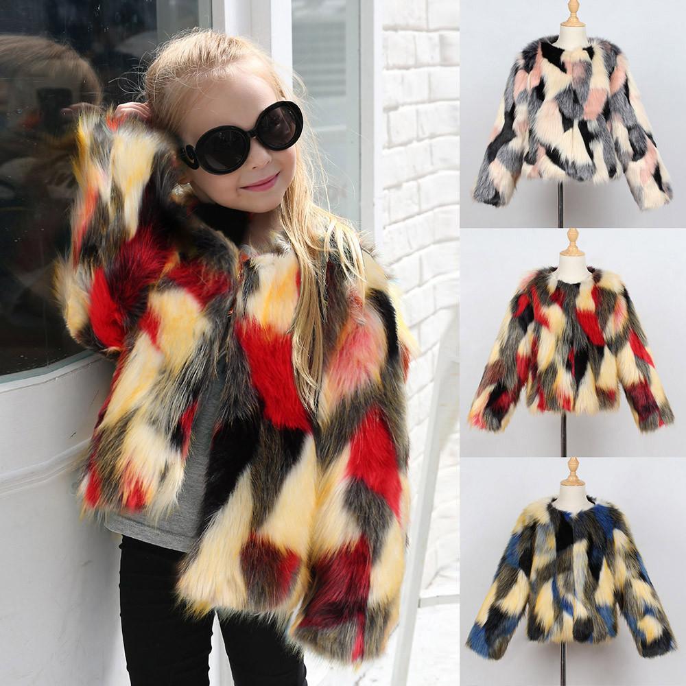 da808886fafe good quality Fashion Coat Winter clothes Kids Baby Girl Winter Warm Clothes  Faux Fur Thick Solid Coat Outwear kurtka zimowa doudoune