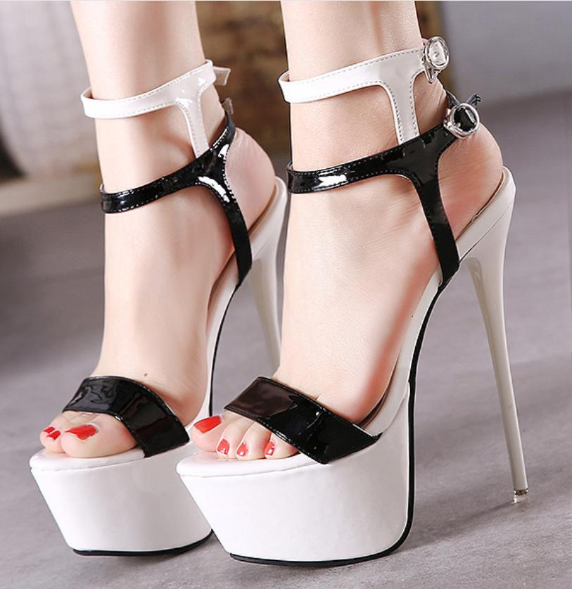 Sexy Open Toe 16cm Super High-heeled Summer Sandals Black White Red ... e1d20849610e
