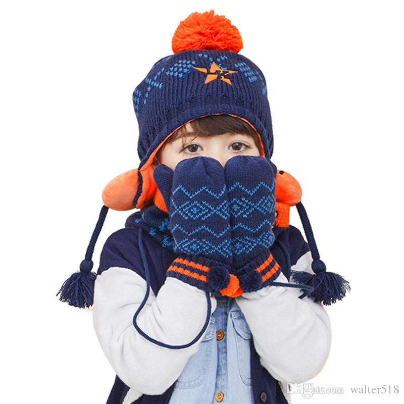 2019 Baby Girl Boys Hat Scarf Gloves Winter Children 2 6 Year Scarves Hats  Kids Warm Layer Caps Thick NM 009 From Walter518 974439e61e1