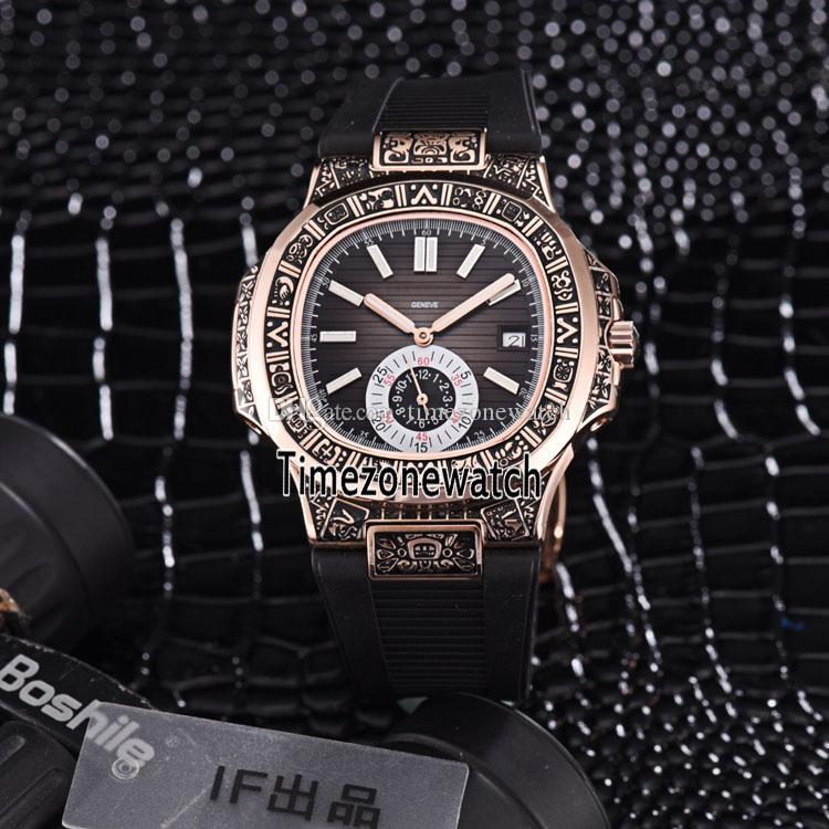 New Sport Nautilus Rose Gold Steel Vintage Engraving Case 5980/1 5980/1R-001 Blue Texture Dial Automatic Mens Watch Rubber Strap Watches