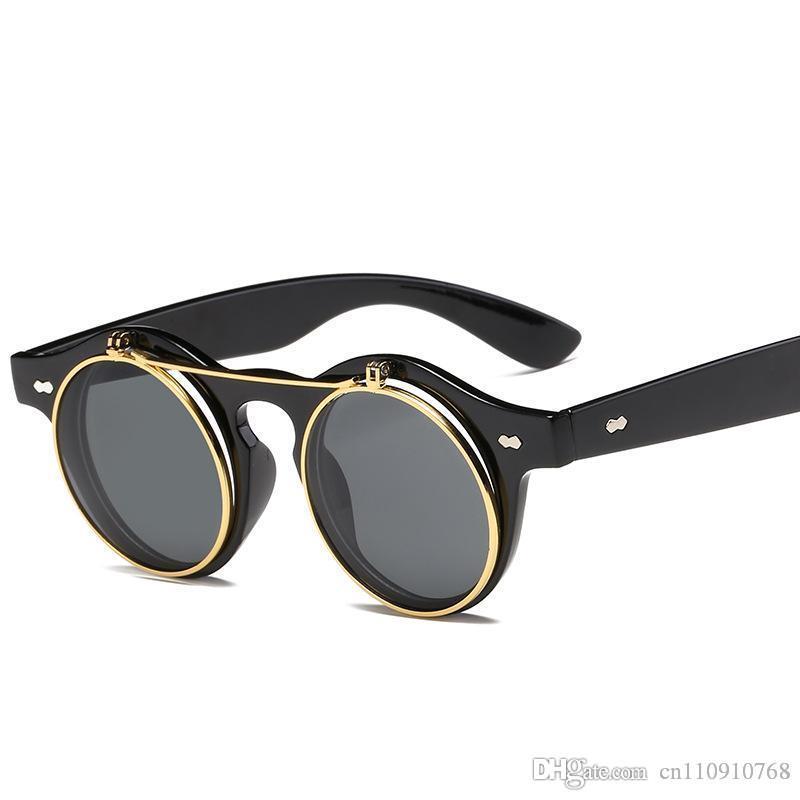 88814245c0 ARQ03 Flip Up Round Sunglasses Retro Men Women Steampunk Classic PC Frame  Mixed Metal Coil Wire BOTERN EYEWEAR