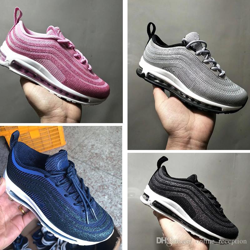 c79059ee2a8ab9 Großhandel Nike Air Max 97 Baby Kids 97 Schuhe Kanye West 270 Zebra Laufschuhe  2019 Kinder Sportlich Beluga 2.0 Sport Sneakers Schwarz Silbrig Golden 28  35 ...
