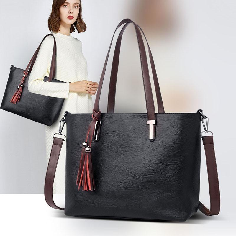VOLESS Women Tote Bag Fashion Tassel Female Handbags Famous Brand Shoulder  Bag For Women High Quality PU Leather Large Capacity Ladies Purse Leather  ... 9913c3629df55