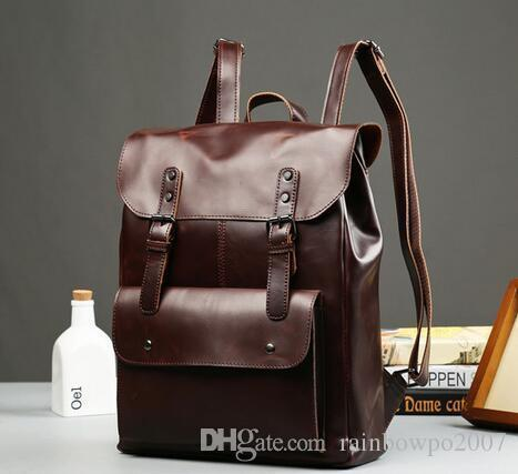 2c089e8f43f Fact Leisure Trend Crazy Horse Leather Men Backpack Backpack Vintage  Locomotives Contracted Clamshell Students Travel Bag Mens Brand Package  Overnight Bags ...