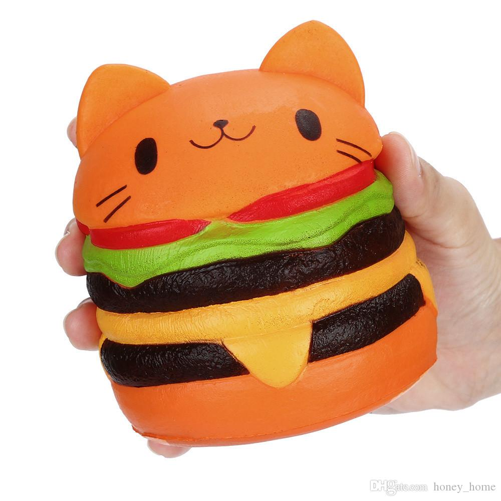PU Cartoon Cat Hamburger Scented Slow Rising Exquisite Kid Soft Gift Collection Stress Reliever Decor Squishy Squeeze Toy