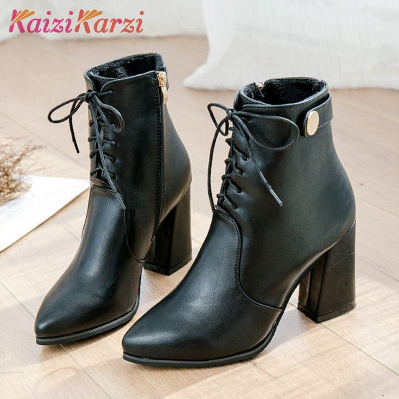 a996a608d KaiziKarzi Women Ankle Boots Pointed Toe Lace Up Shoes Side Zipper Solid  Color Ladies Botas Stylish Footwear Size 35 39 Fringe Boots Boot Socks From  Pinkvvv ...
