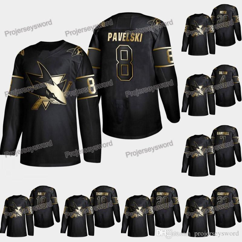 on sale 6a2ed ced79 San Jose Sharks Joe Pavelski 2019 Golden Edition Jersey Brenden Dillon  Evander Kane Joe Thornton Joonas Donskoi Aaron Dell Martin Jones