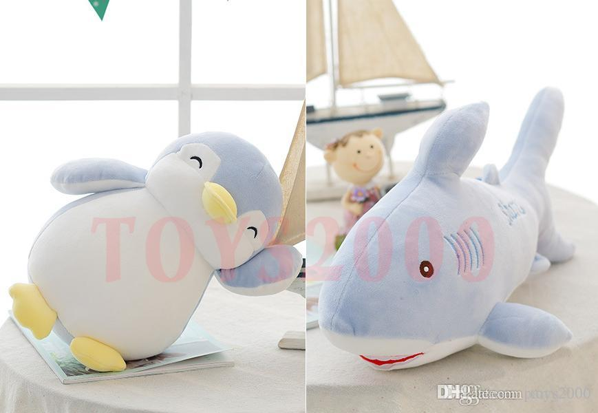 New marine animals cute creative down baby shark penguin baby doll baby plush toys custom wholesale 1Piece