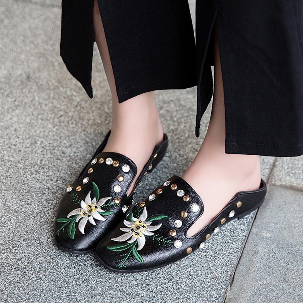 4f85b7b2c97c19 Acheter Robe Sagace Chaussures Sandales Femmes Imprimé Plat Sauvage Simple Chaussures  Rivet Brodé Sandales De Mode Nouvelles Chaussures Femme 2019dec6 De ...