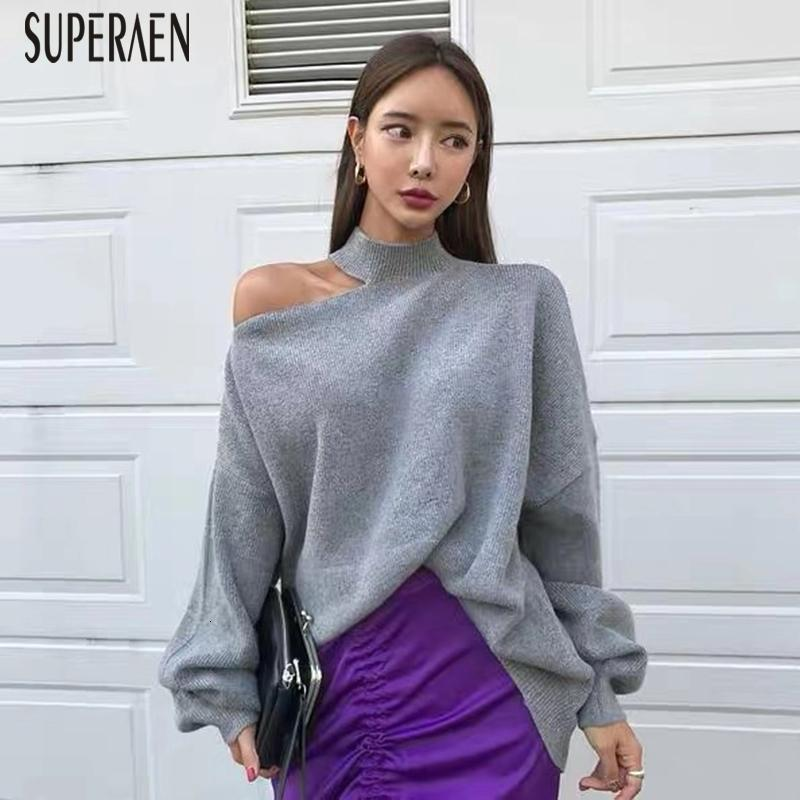 SuperAen Korean Off Shoulder Pullovers Sweater Women 2019 Autumn and Winter New Irregular Ladies Sweater Solid Color Knit TopsMX190927