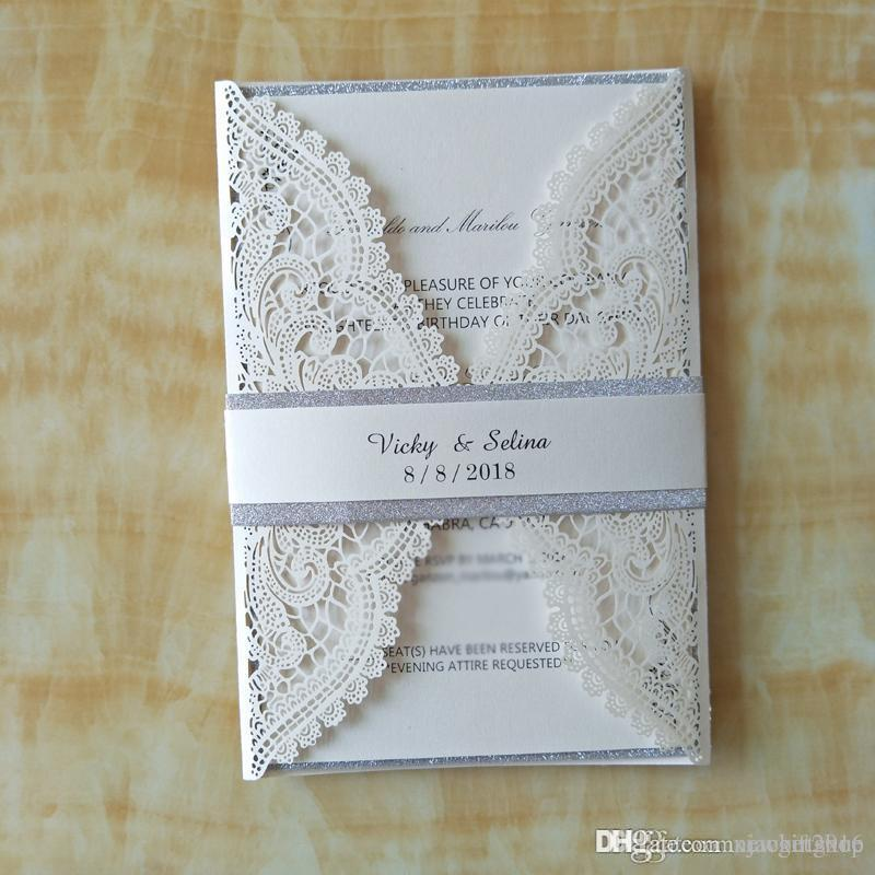 Wedding Invitation Packages.50pc Luxury Ivory Glitter Wedding Invitations With Belt Elegant Party Invites Birthday Invitation Card Envelope Wedding Supplies