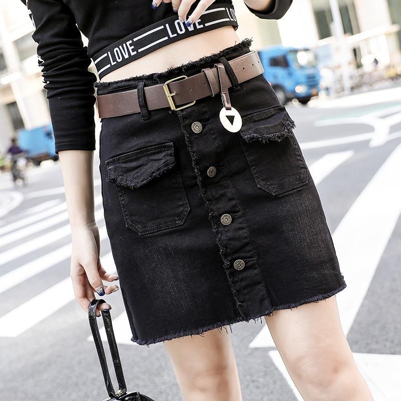 d9e73b8e2c 2019 Summer Womens Ladies A Line Pencil Jeans Skirt Front Button ...