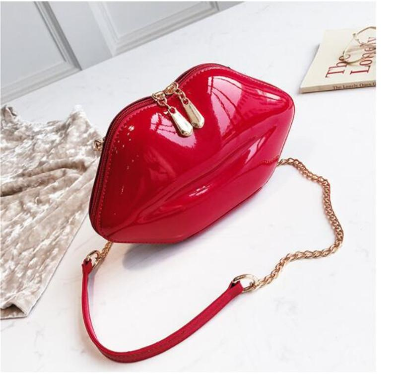 6675025c392bd 2019 Women Red Lips Clutch Bag High Quality Ladies Pu Leather Chain ...