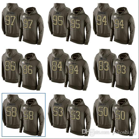 reputable site 2312f 46907 Men,Women,Youth 97 Heyward 95 Jones 94 Tiommons 86 Ward 84 Brown Pittsburgh  Steelers Army Green Salute Hoodies