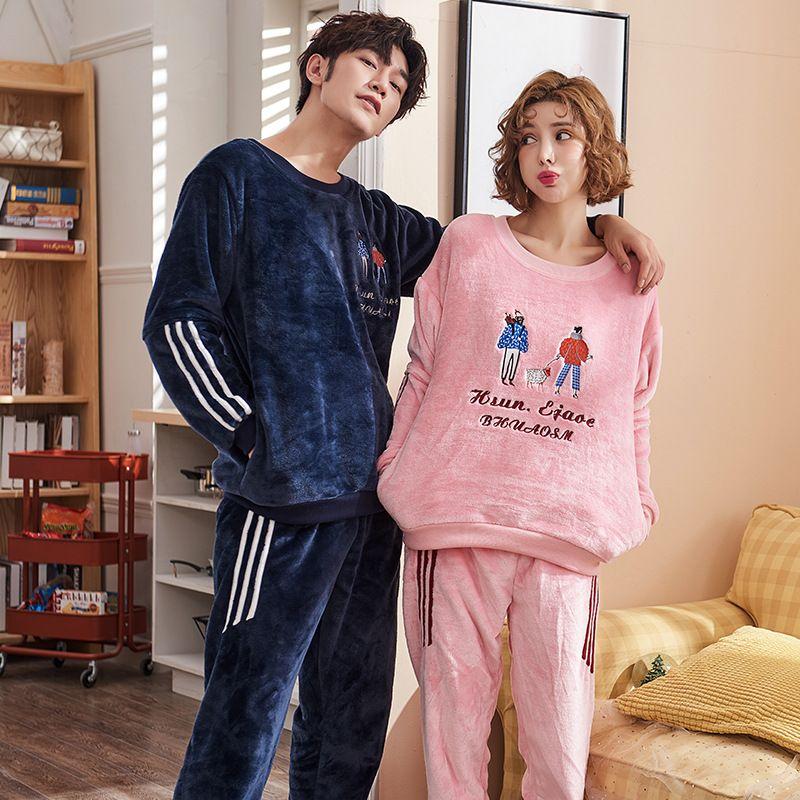7f2e83a70 2019 New Couple Matching Pajamas Set Winter Christmas Pajamas Men And Women  Warm Pyjamas Flannel Home Night Suit Pyjama Homme Pijamas From Kuaikey, ...