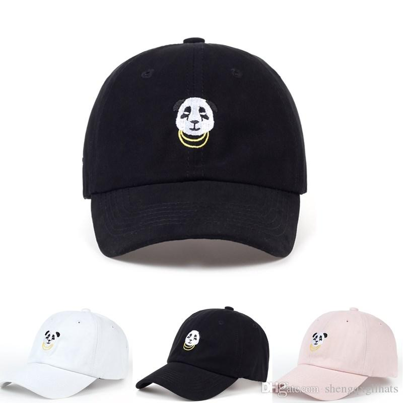 Unisex Panda Gold Chains Embroidery Baseball Cap Design Dad Hat Men Women Golf Cap Outdoor Casual Cap Snapback Hats