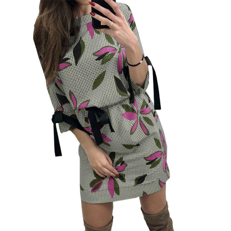8f5f66e49 Compre Mulheres Floral Impresso Vestidos Kawaii Menina Doce Arco O Pescoço  Mini Vestido De Verão Moda Festa De Verão Vestido De Praia Plus Size Casual  Gv046 ...