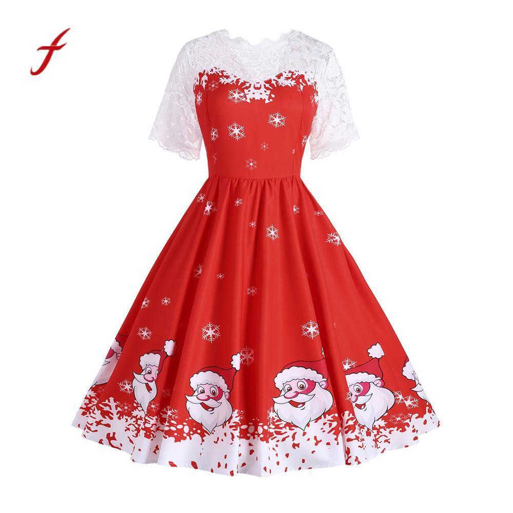 07c1a44e99 Compre Feitong Vestidos De Mujer Elegante De Encaje Floral Vintage Hepburn Mini  Vestido Vestido De Bola Decoración Vestidos Mujer 2019 A  29.02 Del Pamele  ...