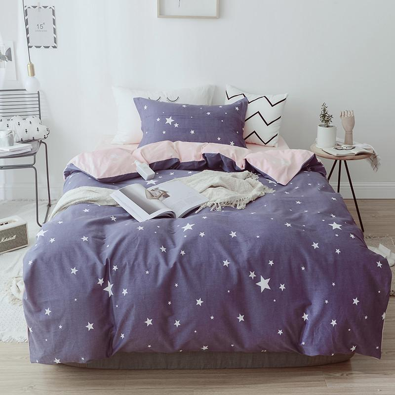 Fantasy white stars pattern Bedsheet Pillowcase Duvet Cover Sets 100% Cotton Bedlinen Full Size Bedding Set Pillowcase Bed Sheet