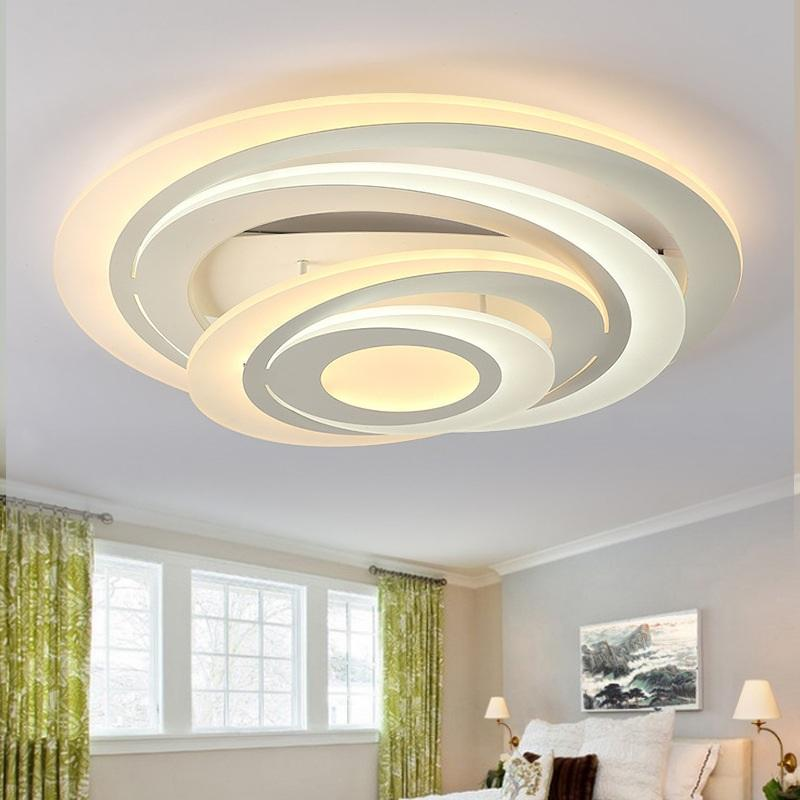 Round bedroom ceiling lights Creative multi-layer fashion restaurant light  LED acrylic living room ceiling lamps