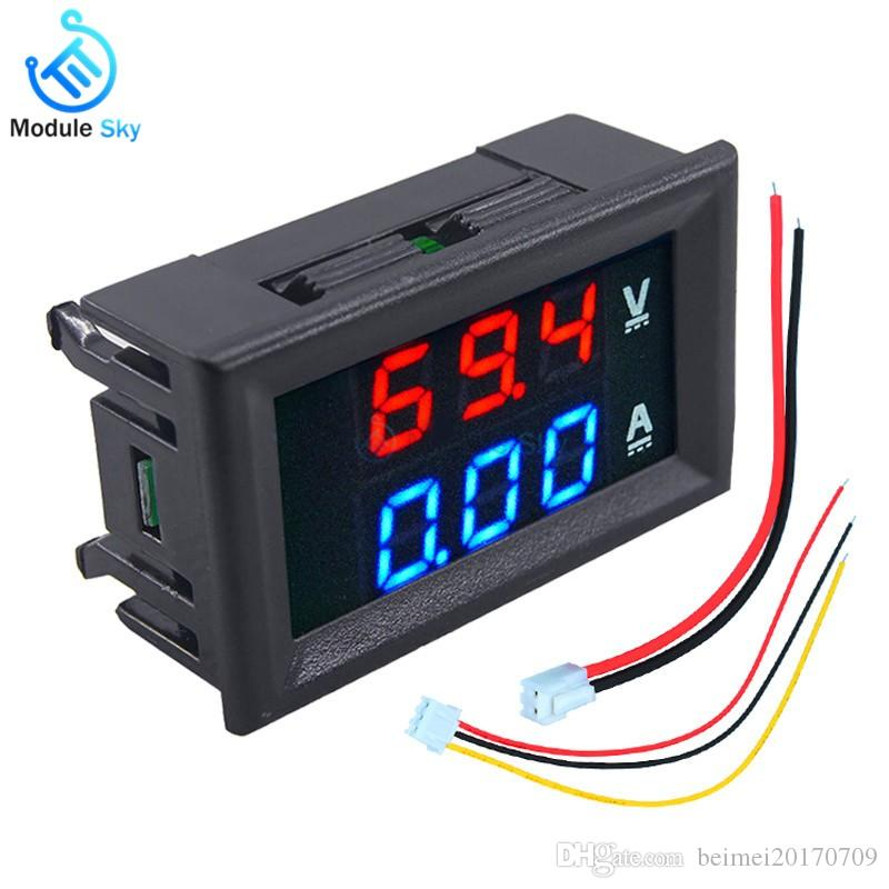 "Mini Digital Voltmeter Ammeter DC 100V 10A Panel Amp Volt Voltage Current Meter Tester 0.56"" Blue + Red Dual LED Display"