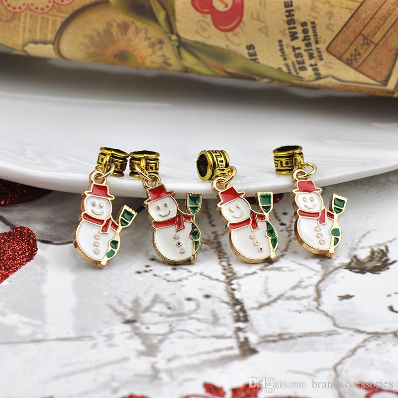 Presente engraçado Esmalte De Ouro Pingentes Fit Encantos De Pandora Pulseiras de Natal Boneco De Neve Liga de Furo Do Pérola DIY Colar de Jóias Acessórios DZ59
