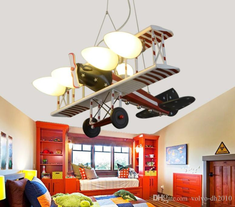 Creative Led Red American Aircraft Hanging Lights Children\'s Bedroom Lights  Boys\'Room Cartoon Lighting LLFA
