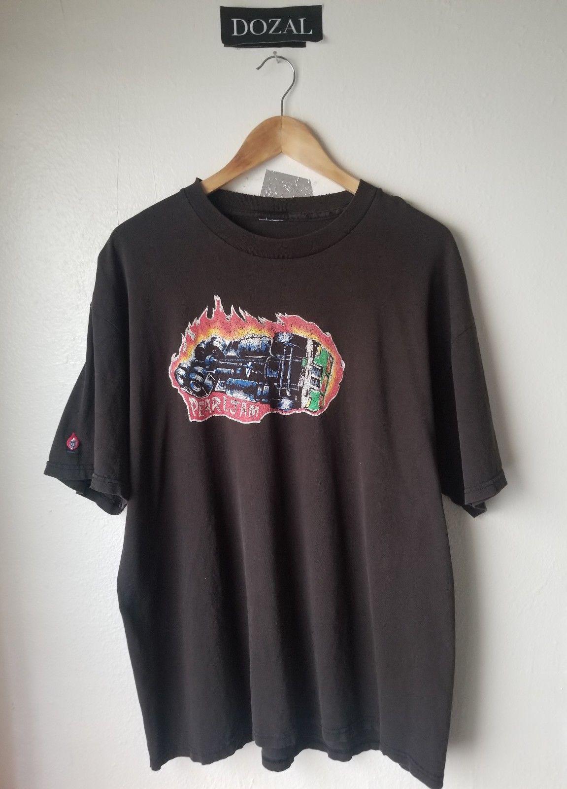 Vintage 90s Pearl Jam Nightmare Tshirt Burning Truck Niceman Size Xl
