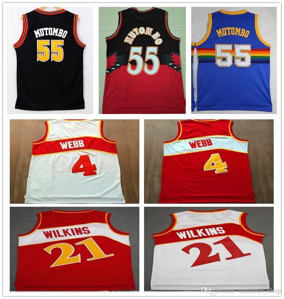 03e3b773102 Stitched Mens  55 Dikembe Mutombo Jersey Top Quality Red White 4 Spud Webb  21 Dominique Wilkins Jerseys Vintage Sportswear Online with  21.27 Piece on  ...