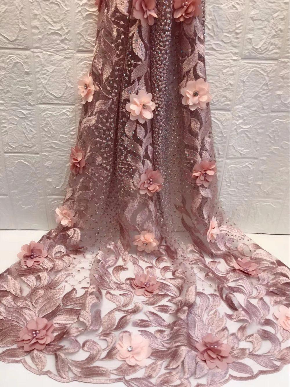 93e2495dcd98b 3D Lace Fabric With Beads And Stones High Quality African Tulle Lace Fabric  2018 Guipure Nigerian Lace Fabrics Pink Black Green