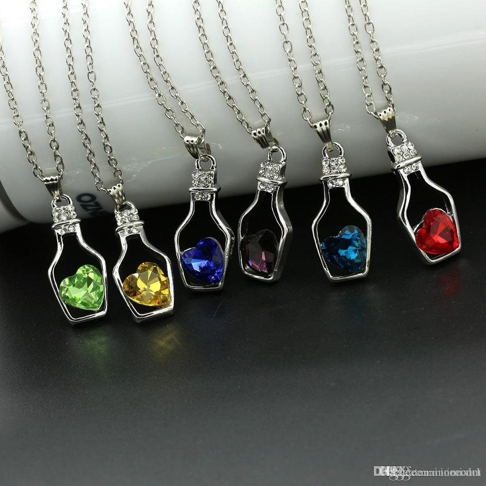8 Colors Fashion Crystal Women's Neck Jewelry Chain Necklace Rhinestone Gift Love Heart Bottle Pendant Necklaces