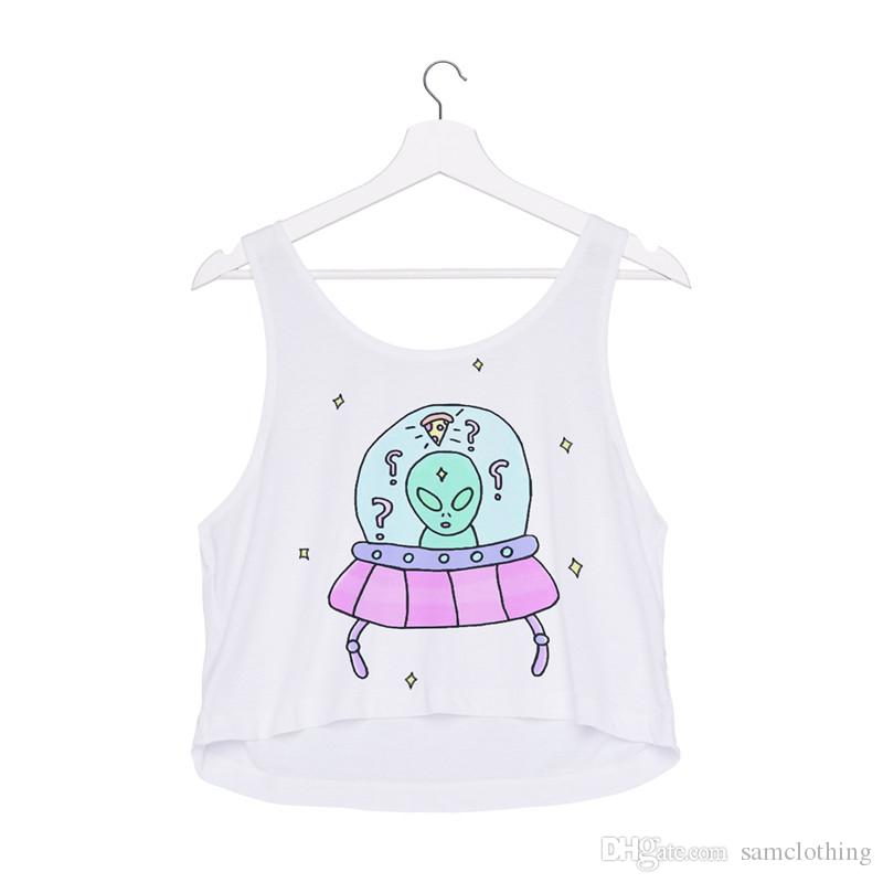 Women Vest Alien Ship 3D Printed Girl Free Size Stretchy Tank Top Lady Sleeveless Soft Tanks Casual Crop Top Tops Waistcoat (R40447)