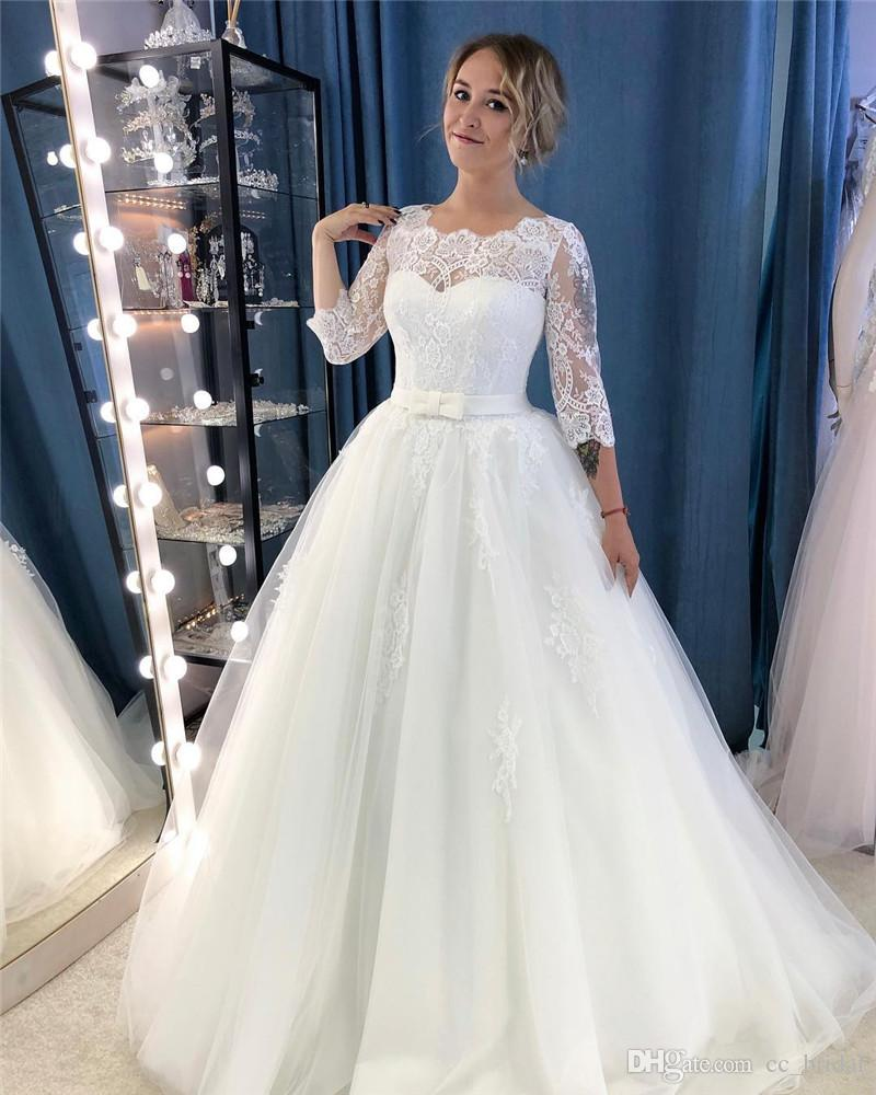 Discount Elegant Lace Sheer Neck A Line Wedding Dresses 2019 Cap Sleeves  Maternity Pregnant Backless Bridal Gowns Beach Plus Size Vestidos De Novia  Ball ... 5ae4496f52ca